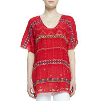 Johnny WasColorful Daisy Eyelet Blouse, Fiery Red, Plus Size