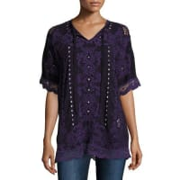 Johnny WasDamask Boxy Tie-Neck Embroidered Top, Deep Plum, Plus Size