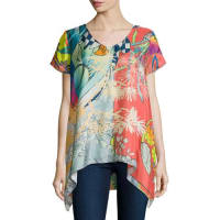 Johnny WasElly Short-Sleeve Silk Printed Tunic, Plus Size