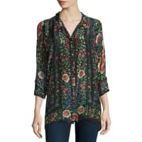 Johnny WasEmby Button-Front Floral-Print Blouse, Black/Multi