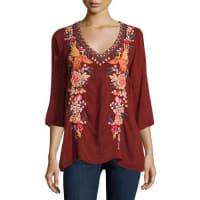 Johnny WasFaith 3/4-Sleeve Embroidered Blouse