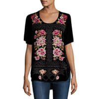 Johnny WasHila Rose-Embroidered Velvet Tee, Black, Plus Size