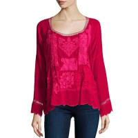 Johnny WasPuzzle Scalloped Georgette Top, Pinkberry