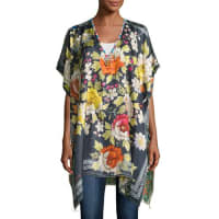 Johnny WasRosalia Floral-Print Twill Poncho, Multi, Plus Size
