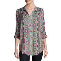 Johnny WasRosetto Button-Front Printed Tunic