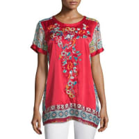 Johnny WasYokito Embroidered Combo Tunic, Red/Multi, Plus Size