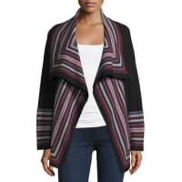 JoieDagna Striped Wool Open-Front Cardigan