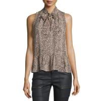 JoieEstero Leopard-Print Tie-Neck Top