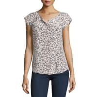 JoieIva Printed Cap-Sleeve Silk Top, Soft Sand