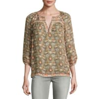 JoieRonny Floral-Print Silk Top, Green