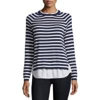 JoieZaan Striped Sweater-Shirt Combo Top, Dark Navy/Natural
