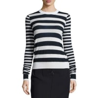JosephStriped Cashmere Long-Sleeve Top