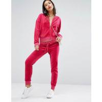 Juicy CoutureVelour Jogger with Snake Print Logo - Sangria pink