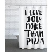 JuniqeI Love You More Than Pizza-Duschvorhang