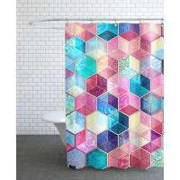 JuniqeTopaz And Rubey Crystal Honeycomb Cubes-Duschvorhang