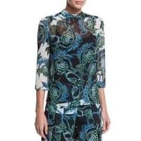 Just CavalliIkebana-Print High-Collar Blouse