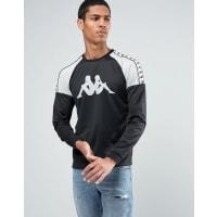 KappaLong Sleeve T-Shirt With Large Logo And Taping - Black