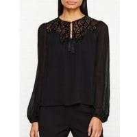 Karen MillenPrairie Lace Top - Black, Size 10