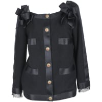 Karl Lagerfeld2011a Chanel Wool Boucle Jacket W/blk Satin Ribbon Trim & Gripoix Buttons Fr 38