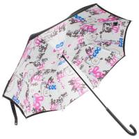 Karl LagerfeldChanel Logo Grafitti Print Umbrella - Black/blue/pink/white