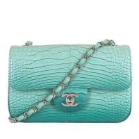 Karl LagerfeldNew Mini Chanel Turquoise Alligator sac Timeless Bag With Silver Hardware