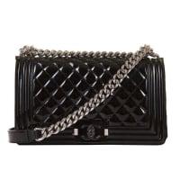 Karl LagerfeldNew & Unused Chanel 25cm Medium Black Patent boy Bag With Silver Hardware
