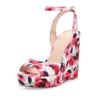 Kate Spade New Yorkdellie garden-print wedge sandal, deep pink
