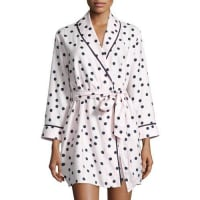 Kate Spade New Yorkdot-print flannel short robe, pink shadow