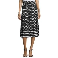 Kate Spade New Yorkdotted & striped pleated midi skirt, black/cream