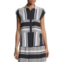 Kate Spade New Yorkstriped cap-sleeve silk blouse, black