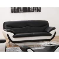 Venta-Unica.comSofá 3 plazas de piel sintética INDICE - Bicolor negro y blanco