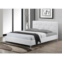 Venta-Unica.comEstructura de cama GABIN - 140x190 cm - Piel sintética - Blanco