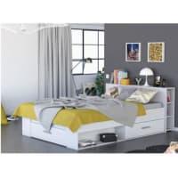 Venta-Unica.comEstructura de cama LEONIS con espacios de almacenaje - 140x190 cm - Blanco