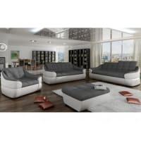 Vente-unique.beTwee- en driezitsbank en fauteuil van stof en kunstleer FAREZ - Tweekleurig grijs en wit