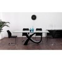 Vente-unique.beEettafel ETREINTE - 8 personen - MDF en gehard glas - zwart