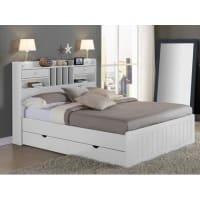 Venta-Unica.comEstructura de cama MEDERICK con almacenaje - 140x190 cm - Pino blanco