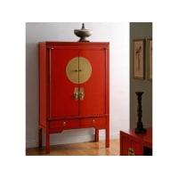 Vente-unique.beKast NANTONG - 2 deuren & 2 laden - L.105 cm - Iepenhout - Rood