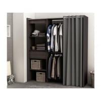 Venta-Unica.comArmario vestidor extensible KYLIAN - Largo 114/168 cm - Chocolate y gris