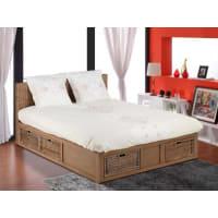 Venta-Unica.comEstructura de cama BAYANI - 160x200 cm - Mimbre & caoba - 6 cajones
