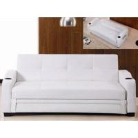 Venta-Unica.comSofá cama clic-clac de piel sintética MIRELLA - Blanco