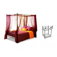 Venta-Unica.comPACK dormitorio MARQUISE - Cama con dosel 180x200 cm y 2 mesas de noche - Metal estilo hierro forjado