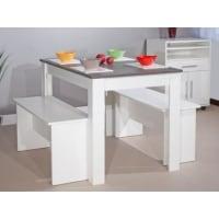Vente-unique.beSet tafel + 2 banken BASTIEN - Wit, blad met betoneffect