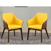 Vente-unique.beSet van 2 fauteuils van stof LIMPIO - Geel en kastanjebruin