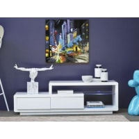 Venta-Unica.comREBAJAS-Mueble TV LIAM - MDF & vidrio templado - 2 cajones & 1 balda - LEDs - Blanco