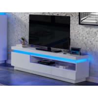Venta-Unica.comMueble TV EMERSON - 1 puerta & 2 cajones - LEDs - MDF lacado blanco