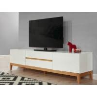 Venta-Unica.comMueble TV SEDNA - 2 puertas y 2 cajones - Roble macizo y MDF lacado blanco