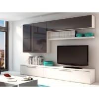Venta-Unica.comMueble TV mural MAKASAR con espacios de almacenaje - Lacado gris antracita y blanco