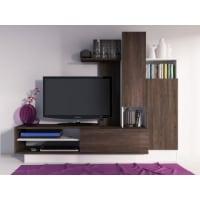 Venta-Unica.comMueble TV mural BALINTO con espacio de almacenaje - Wengué y blanco