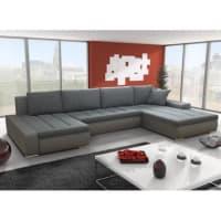 Venta-Unica.comSofá cama rinconero XXL bimaterial SEDUCTO - Ángulo reversible - Bicolor gris/topo