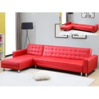 Venta-Unica.comSofá cama rinconero WILLIS - Ángulo reversible - Piel sintética - Rojo
